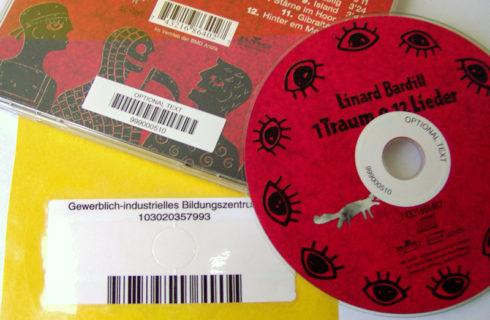 Strichcodeetiketten für CD und DVD
